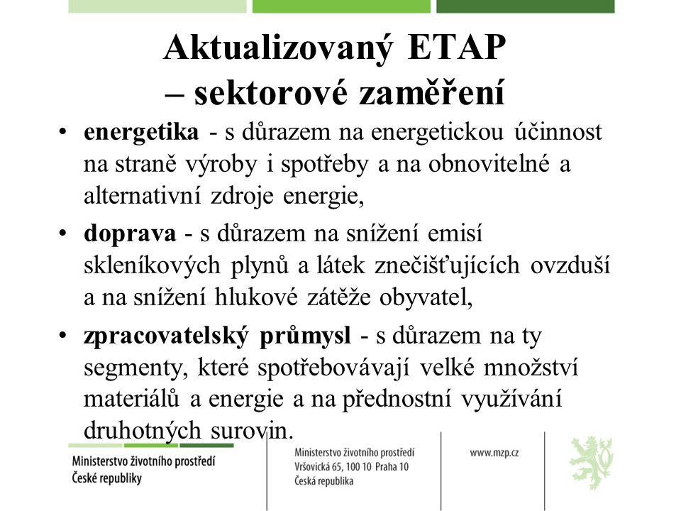 Aktualizovaný ETAP – sektorové zaměření energetika - s důrazem na energetickou účinnost na straně výroby i spotřeby a na obnovitelné a alternativní zdroje energie, doprava - s důrazem na snížení emisí skleníkových plynů a látek znečišťujících ovzduší a na snížení hlukové zátěže obyvatel, zpracovatelský průmysl - s důrazem na ty segmenty, které spotřebovávají velké množství materiálů a energie a na přednostní využívání druhotných surovin.