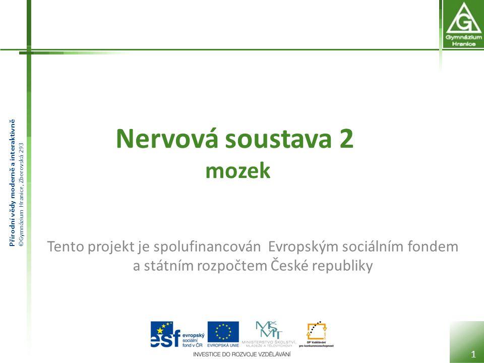 Přírodní vědy moderně a interaktivně ©Gymnázium Hranice, Zborovská 293 Nervová soustava 2 mozek 1 Tento projekt je spolufinancován Evropským sociálním