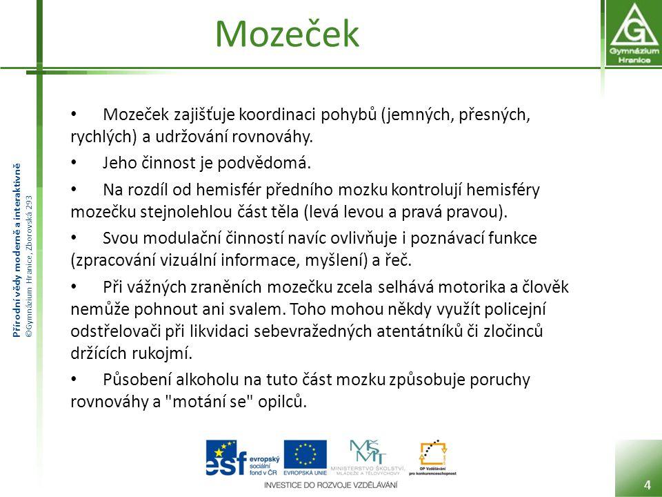 Přírodní vědy moderně a interaktivně ©Gymnázium Hranice, Zborovská 293 Mozeček Mozeček zajišťuje koordinaci pohybů (jemných, přesných, rychlých) a udr