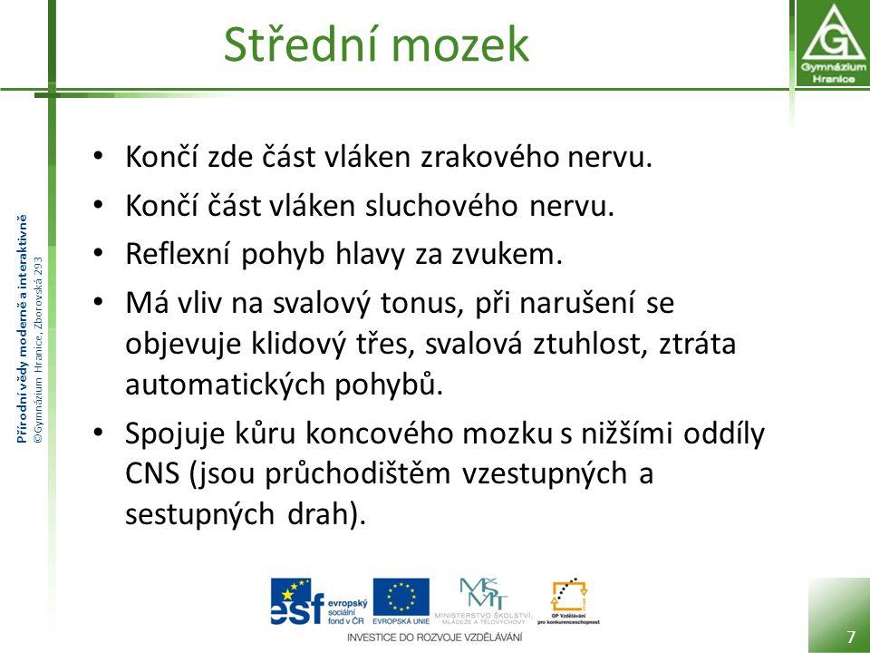 Přírodní vědy moderně a interaktivně ©Gymnázium Hranice, Zborovská 293 Mezimozek Je soubor mozkových struktur okolo třetí mozkové komory.