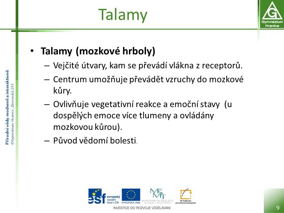 Přírodní vědy moderně a interaktivně ©Gymnázium Hranice, Zborovská 293 Talamy Talamy (mozkové hrboly) – Vejčité útvary, kam se převádí vlákna z recept