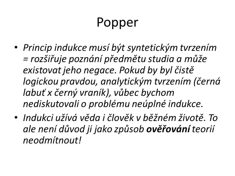 Popper Princip indukce musí být syntetickým tvrzením = rozšiřuje poznání předmětu studia a může existovat jeho negace.