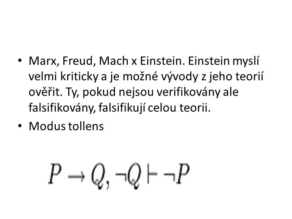 Marx, Freud, Mach x Einstein. Einstein myslí velmi kriticky a je možné vývody z jeho teorií ověřit.