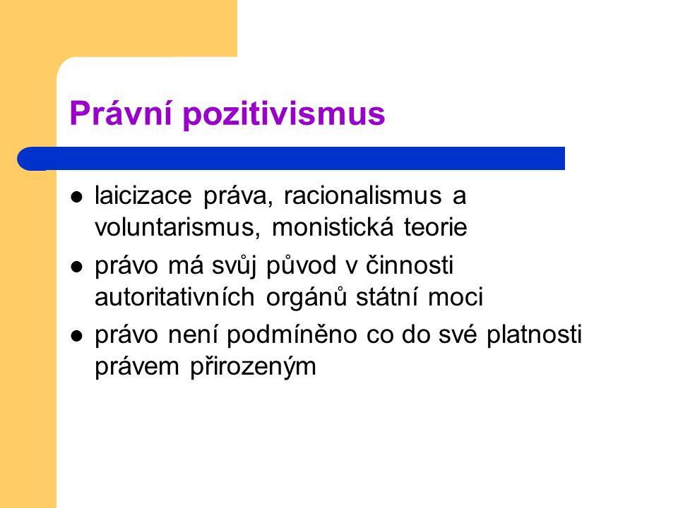 Právní pozitivismus laicizace práva, racionalismus a voluntarismus, monistická teorie právo má svůj původ v činnosti autoritativních orgánů státní moc