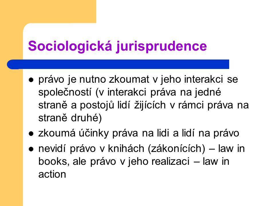 Sociologická jurisprudence právo je nutno zkoumat v jeho interakci se společností (v interakci práva na jedné straně a postojů lidí žijících v rámci práva na straně druhé) zkoumá účinky práva na lidi a lidí na právo nevidí právo v knihách (zákonících) – law in books, ale právo v jeho realizaci – law in action