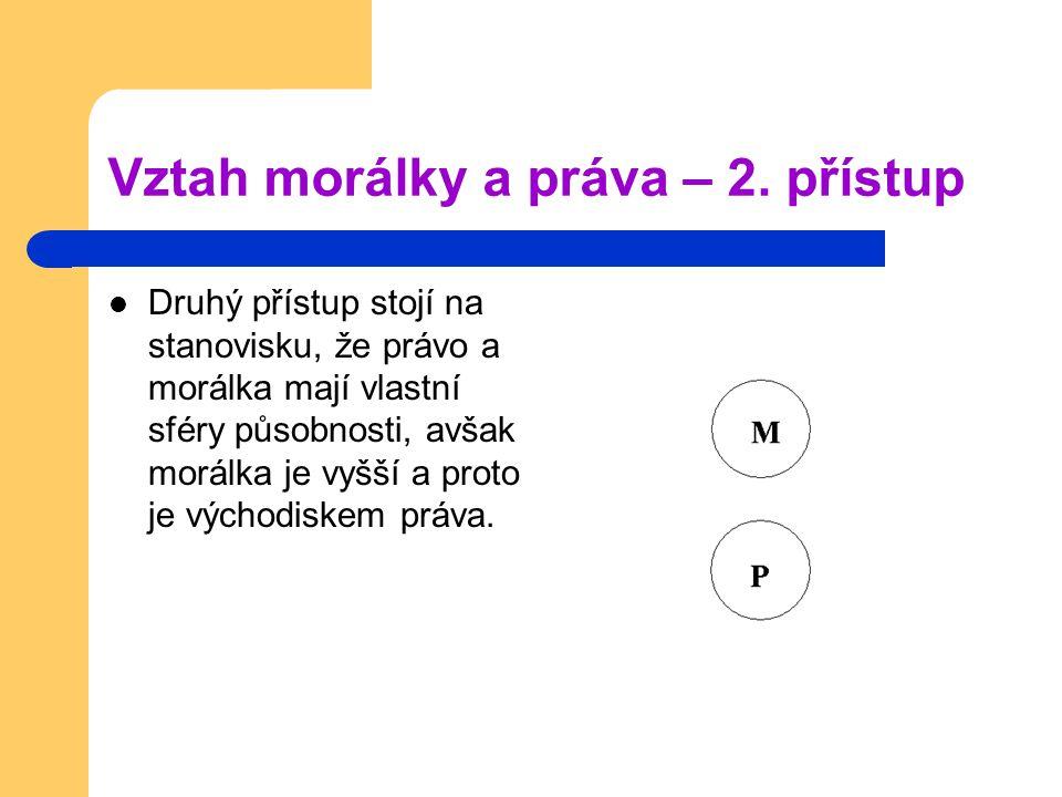Vztah morálky a práva – 2. přístup Druhý přístup stojí na stanovisku, že právo a morálka mají vlastní sféry působnosti, avšak morálka je vyšší a proto