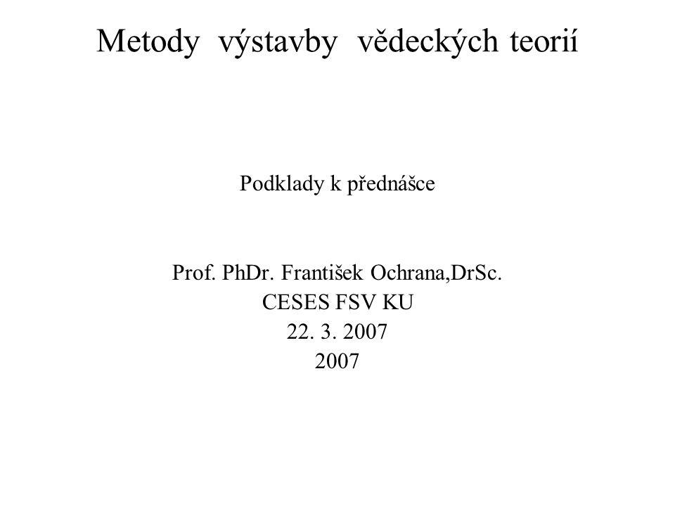 Metody výstavby vědeckých teorií Podklady k přednášce Prof.