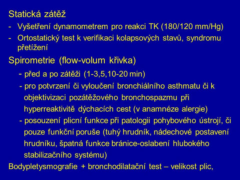 Statická zátěž -Vyšetření dynamometrem pro reakci TK (180/120 mm/Hg) -Ortostatický test k verifikaci kolapsových stavů, syndromu přetížení Spirometrie