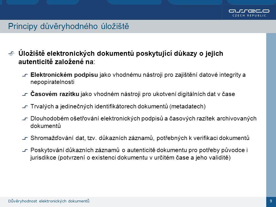 Důvěryhodnost elektronických dokumentů 9 Principy důvěryhodného úložiště Úložiště elektronických dokumentů poskytující důkazy o jejich autenticitě založené na: Elektronickém podpisu jako vhodnému nástroji pro zajištění datové integrity a nepopiratelnosti Časovém razítku jako vhodném nástroji pro ukotvení digitálních dat v čase Trvalých a jedinečných identifikátorech dokumentů (metadatech) Dlouhodobém ošetřování elektronických podpisů a časových razítek archivovaných dokumentů Shromažďování dat, tzv.