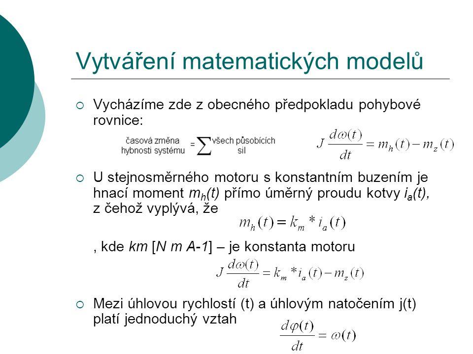  Vycházíme zde z obecného předpokladu pohybové rovnice:  U stejnosměrného motoru s konstantním buzením je hnací moment m h (t) přímo úměrný proudu kotvy i a (t), z čehož vyplývá, že, kde km [N m A-1] – je konstanta motoru  Mezi úhlovou rychlostí (t) a úhlovým natočením j(t) platí jednoduchý vztah