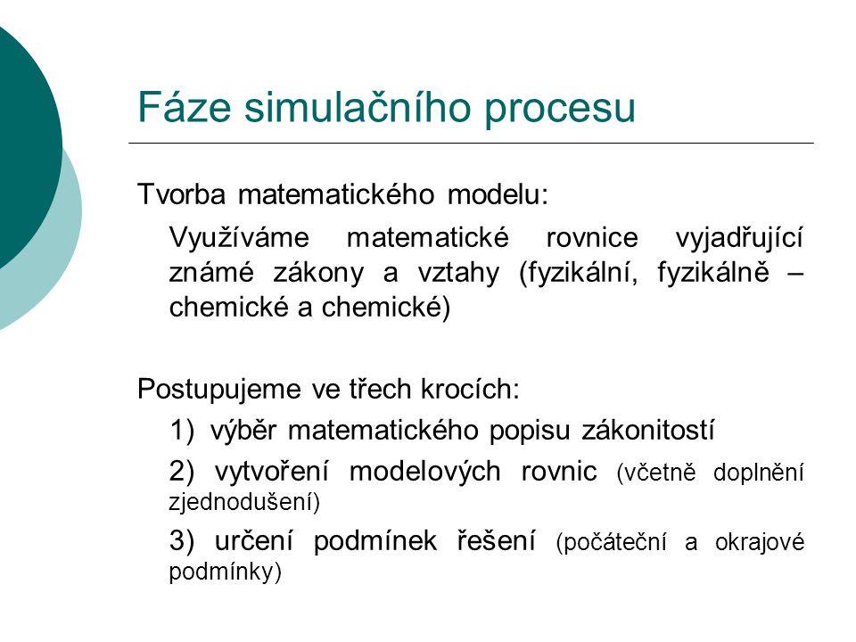 Fáze simulačního procesu Tvorba matematického modelu: Využíváme matematické rovnice vyjadřující známé zákony a vztahy (fyzikální, fyzikálně – chemické a chemické) Postupujeme ve třech krocích: 1) výběr matematického popisu zákonitostí 2) vytvoření modelových rovnic (včetně doplnění zjednodušení) 3) určení podmínek řešení (počáteční a okrajové podmínky)