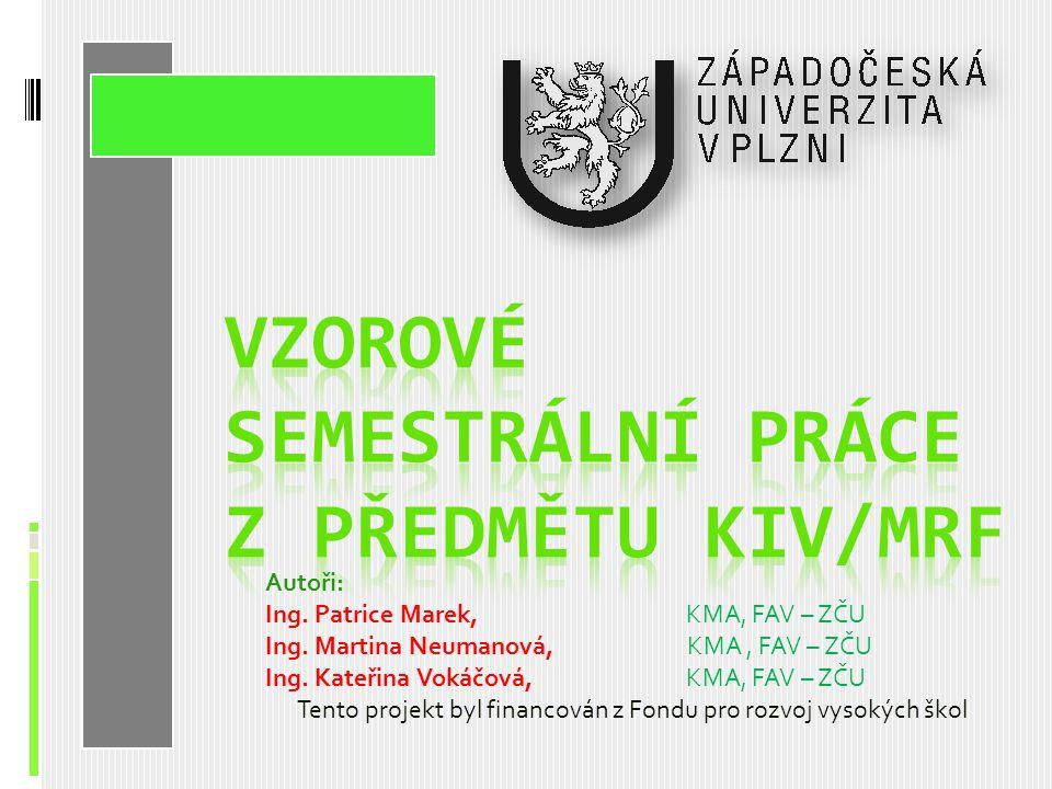 Autoři: Ing.Patrice Marek, KMA, FAV – ZČU Ing. Martina Neumanová, KMA, FAV – ZČU Ing.