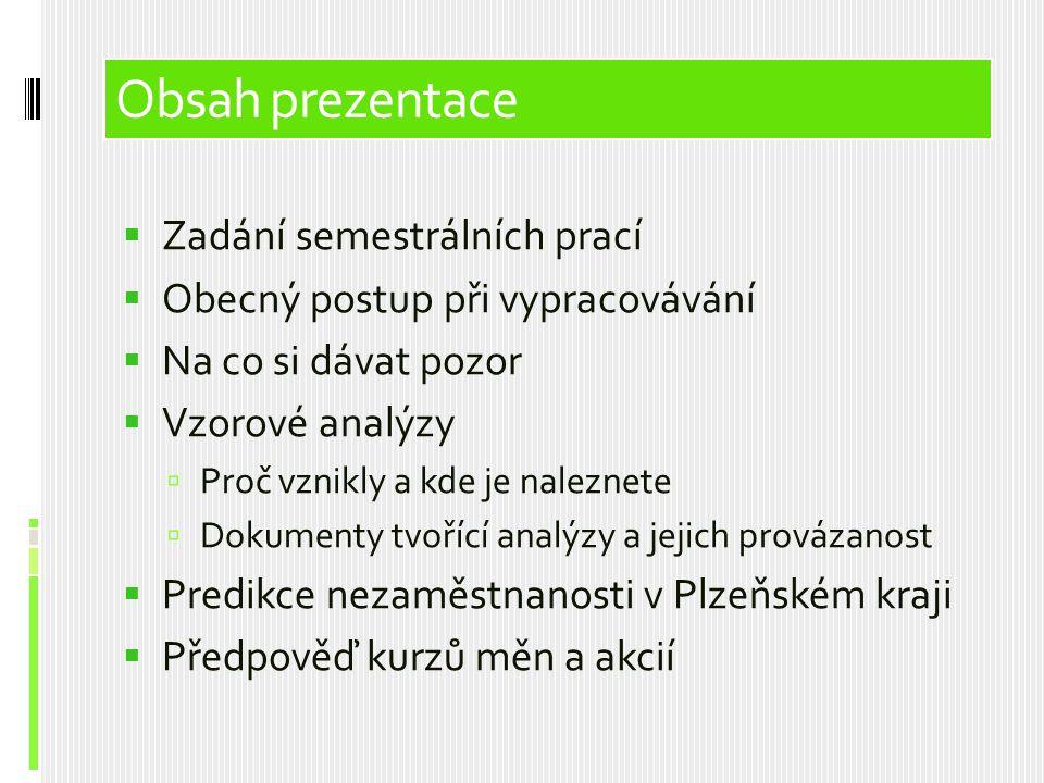 Obsah prezentace  Zadání semestrálních prací  Obecný postup při vypracovávání  Na co si dávat pozor  Vzorové analýzy  Proč vznikly a kde je nalez