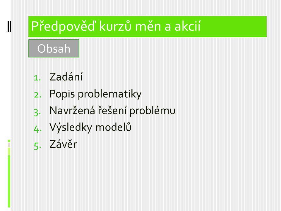 Vzorové analýzy 1. Zadání 2. Popis problematiky 3. Navržená řešení problému 4. Výsledky modelů 5. Závěr Předpověď kurzů měn a akcií Obsah