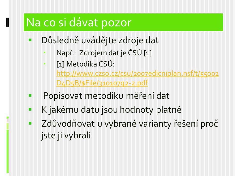Obsah prezentace  Důsledně uvádějte zdroje dat  Např.: Zdrojem dat je ČSÚ [1]  [1] Metodika ČSÚ: http://www.czso.cz/csu/2007edicniplan.nsf/t/55002