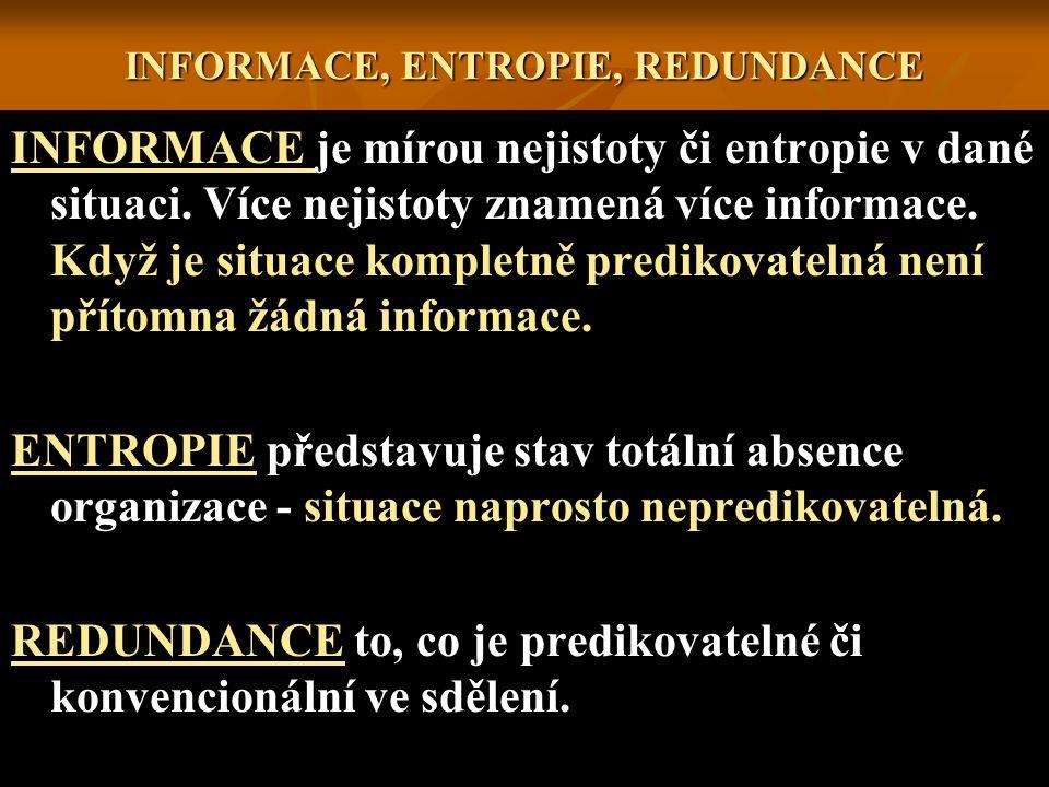 INFORMACE, ENTROPIE, REDUNDANCE INFORMACE je mírou nejistoty či entropie v dané situaci. Více nejistoty znamená více informace. Když je situace komple