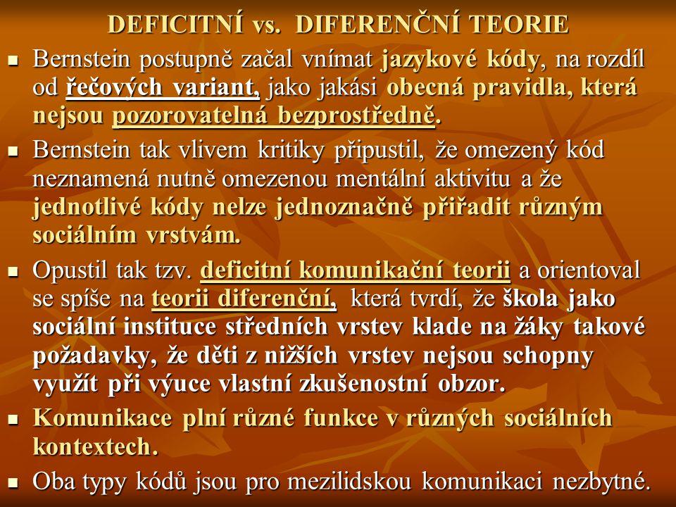 DEFICITNÍ vs. DIFERENČNÍ TEORIE Bernstein postupně začal vnímat jazykové kódy, na rozdíl od řečových variant, jako jakási obecná pravidla, která nejso