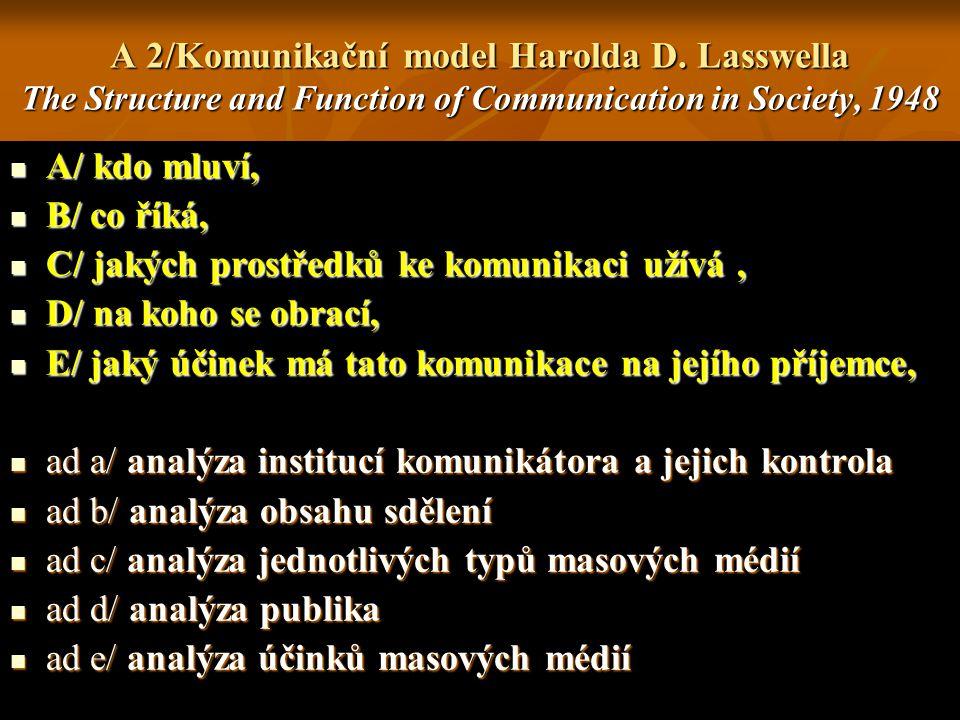 A 2/Komunikační model Harolda D. Lasswella The Structure and Function of Communication in Society, 1948 A/ kdo mluví, A/ kdo mluví, B/ co říká, B/ co