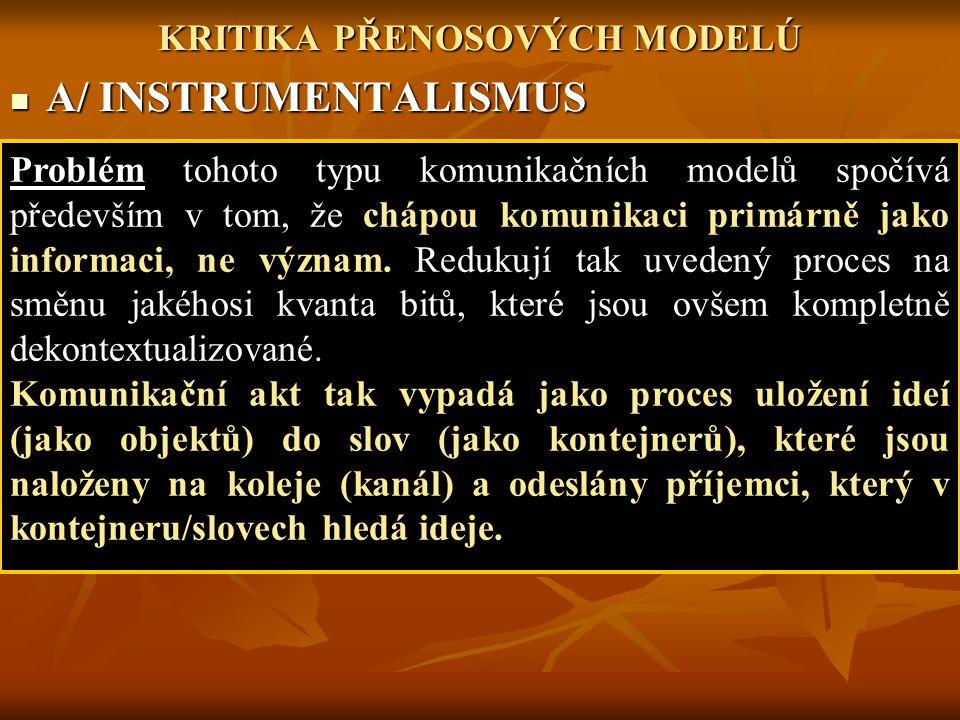 KRITIKA PŘENOSOVÝCH MODELÚ A/ INSTRUMENTALISMUS A/ INSTRUMENTALISMUS Problém tohoto typu komunikačních modelů spočívá především v tom, že chápou komun