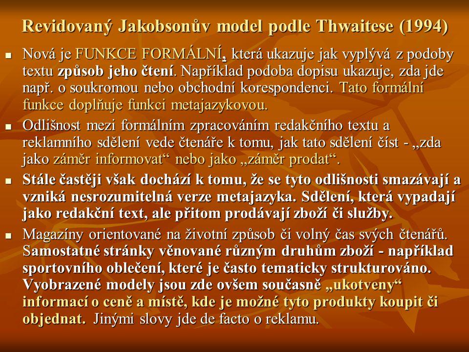 Revidovaný Jakobsonův model podle Thwaitese (1994) Nová je FUNKCE FORMÁLNÍ, která ukazuje jak vyplývá z podoby textu způsob jeho čtení. Například podo