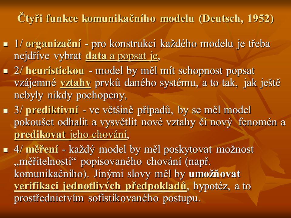 Čtyři funkce komunikačního modelu (Deutsch, 1952) 1/ organizační - pro konstrukci každého modelu je třeba nejdříve vybrat data a popsat je, 1/ organiz