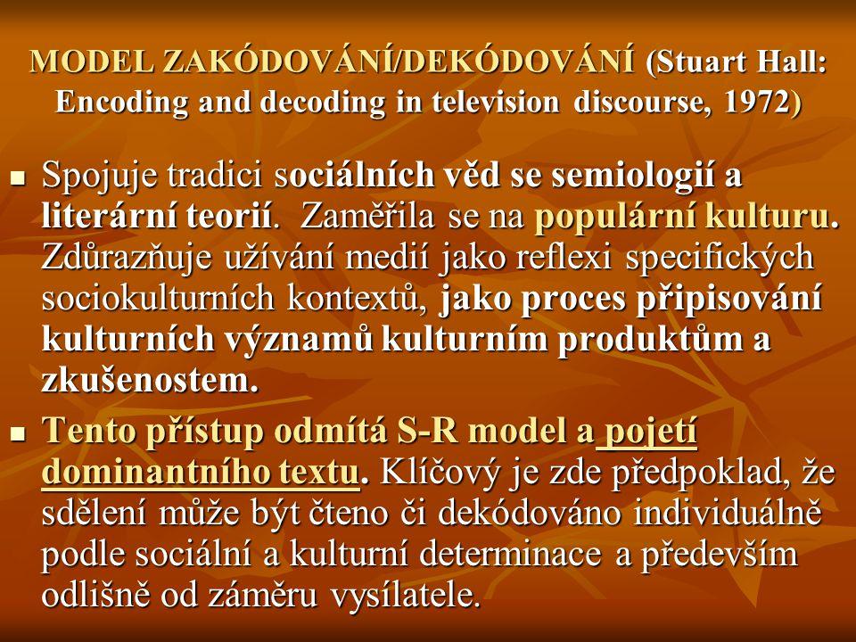 MODEL ZAKÓDOVÁNÍ/DEKÓDOVÁNÍ (Stuart Hall: Encoding and decoding in television discourse, 1972) Spojuje tradici sociálních věd se semiologií a literárn