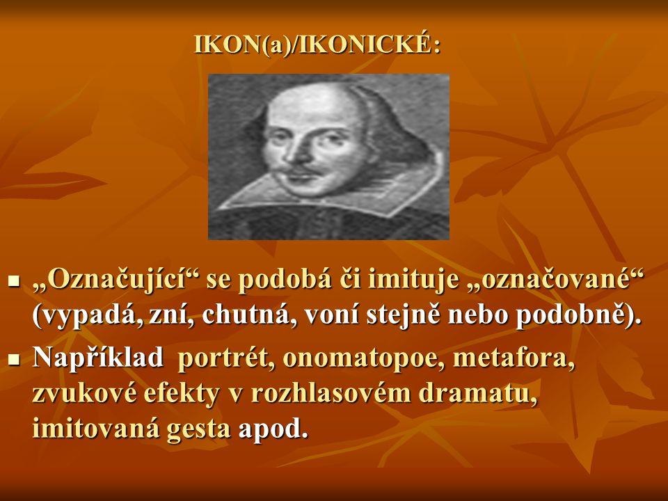 """IKON(a)/IKONICKÉ: """"Označující"""" se podobá či imituje """"označované"""" (vypadá, zní, chutná, voní stejně nebo podobně). """"Označující"""" se podobá či imituje """"o"""