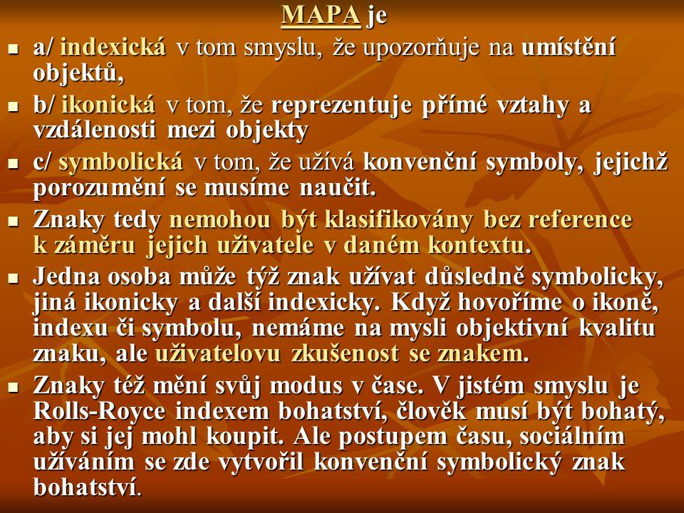 MAPA je a/ indexická v tom smyslu, že upozorňuje na umístění objektů, a/ indexická v tom smyslu, že upozorňuje na umístění objektů, b/ ikonická v tom,