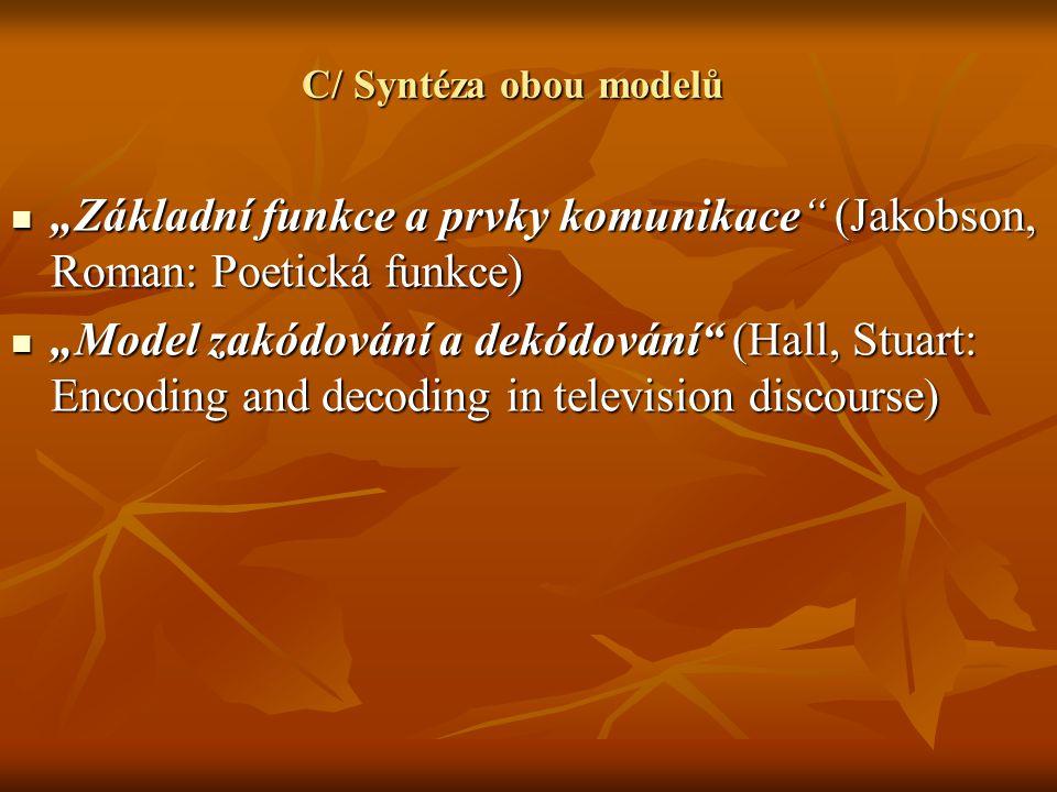 """C/ Syntéza obou modelů """"Základní funkce a prvky komunikace"""" (Jakobson, Roman: Poetická funkce) """"Základní funkce a prvky komunikace"""" (Jakobson, Roman:"""
