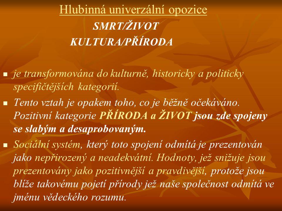 Hlubinná univerzální opozice SMRT/ŽIVOT KULTURA/PŘÍRODA je transformována do kulturně, historicky a politicky specifičtějších kategorií. Tento vztah j