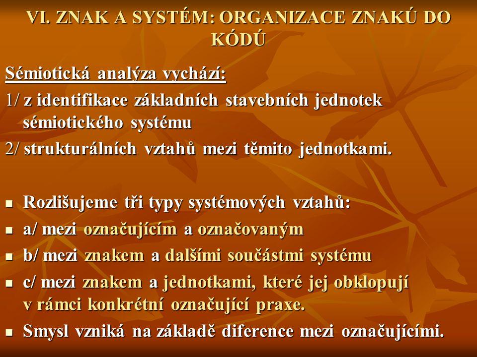VI. ZNAK A SYSTÉM: ORGANIZACE ZNAKÚ DO KÓDÚ Sémiotická analýza vychází: 1/ z identifikace základních stavebních jednotek sémiotického systému 2/ struk