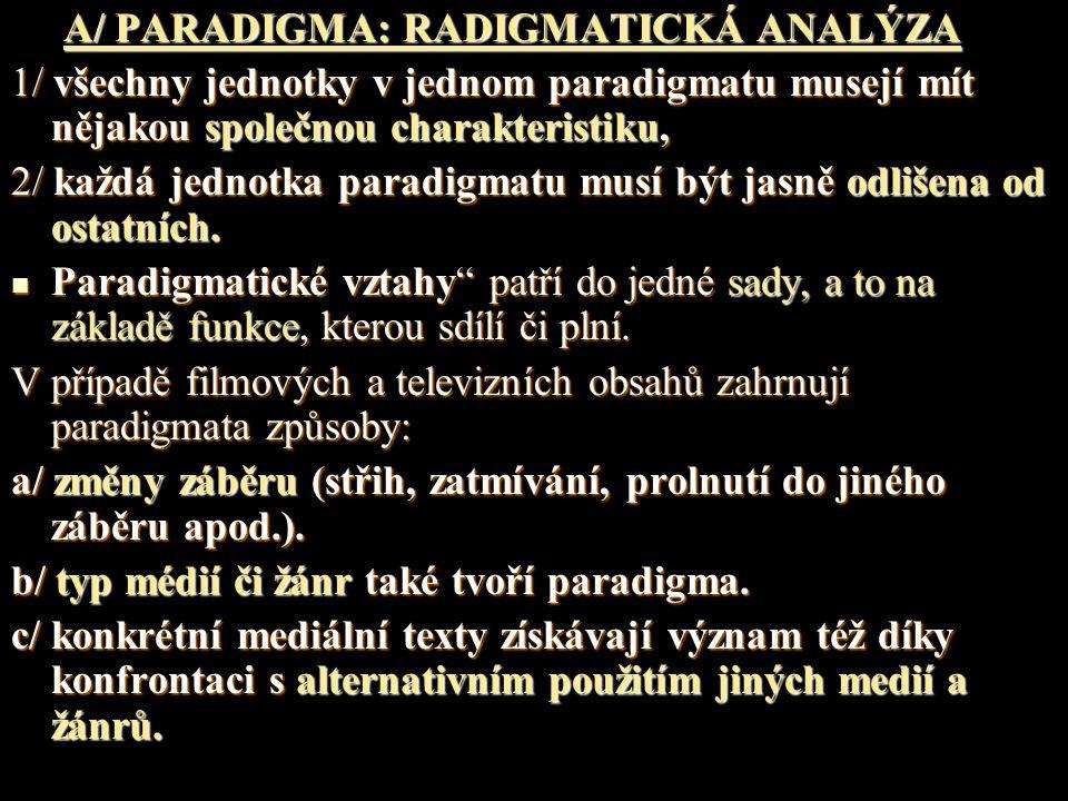 A/ PARADIGMA: RADIGMATICKÁ ANALÝZA A/ PARADIGMA: RADIGMATICKÁ ANALÝZA 1/ všechny jednotky v jednom paradigmatu musejí mít nějakou společnou charakteri
