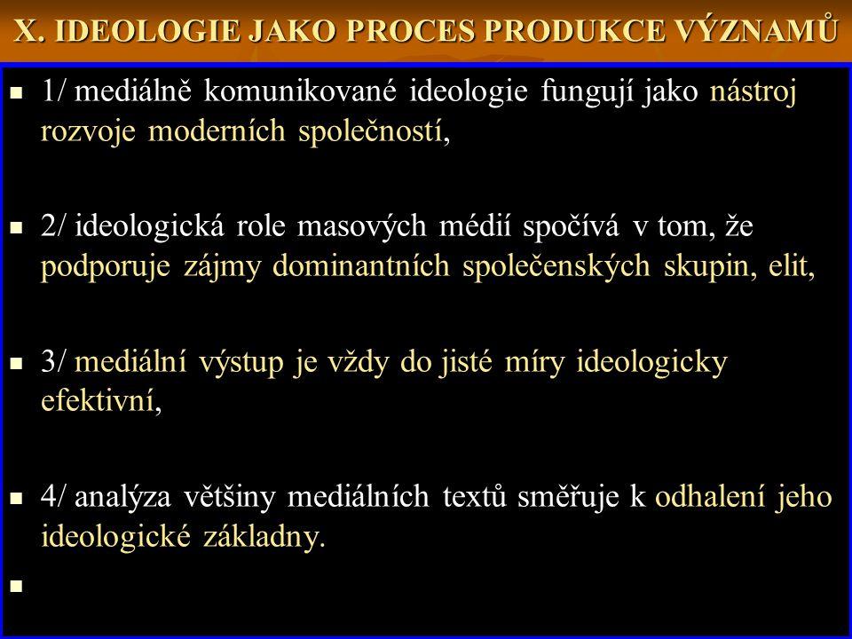 X. IDEOLOGIE JAKO PROCES PRODUKCE VÝZNAMŮ 1/ mediálně komunikované ideologie fungují jako nástroj rozvoje moderních společností, 2/ ideologická role m