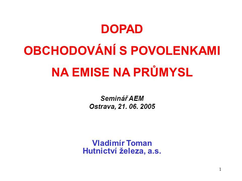 1 DOPAD OBCHODOVÁNÍ S POVOLENKAMI NA EMISE NA PRŮMYSL Seminář AEM Ostrava, 21.