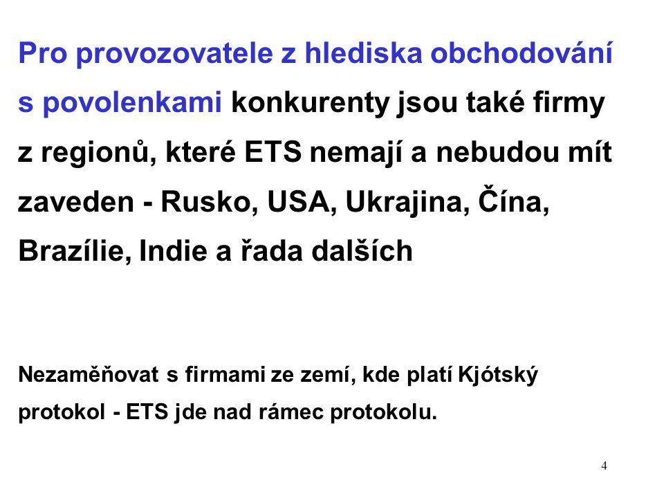 4 Pro provozovatele z hlediska obchodování s povolenkami konkurenty jsou také firmy z regionů, které ETS nemají a nebudou mít zaveden - Rusko, USA, Ukrajina, Čína, Brazílie, Indie a řada dalších Nezaměňovat s firmami ze zemí, kde platí Kjótský protokol - ETS jde nad rámec protokolu.