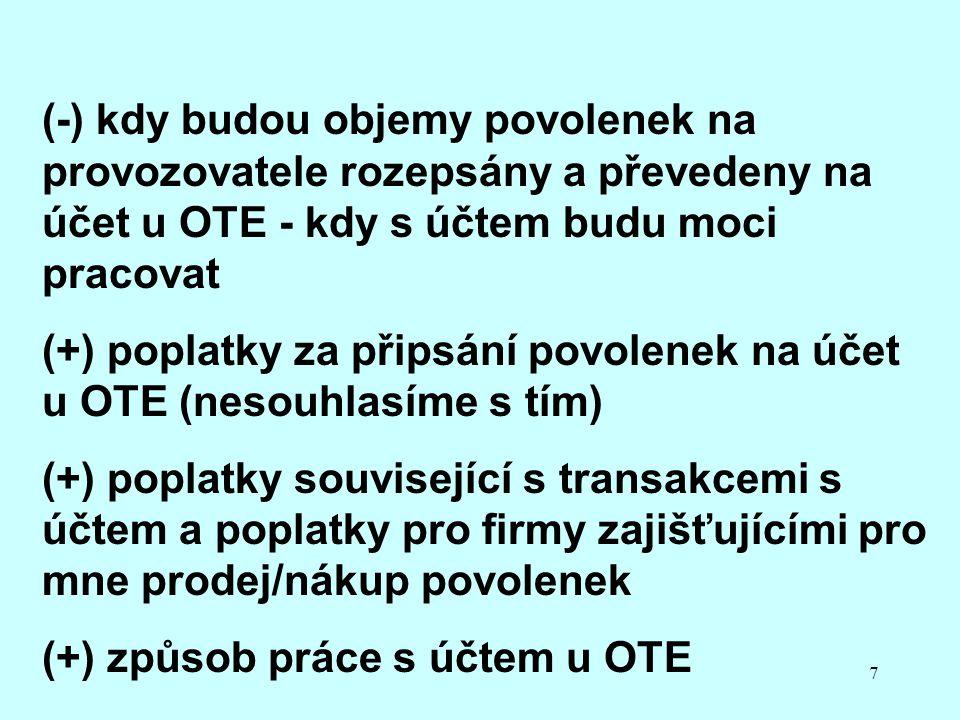 7 (-) kdy budou objemy povolenek na provozovatele rozepsány a převedeny na účet u OTE - kdy s účtem budu moci pracovat (+) poplatky za připsání povolenek na účet u OTE (nesouhlasíme s tím) (+) poplatky související s transakcemi s účtem a poplatky pro firmy zajišťujícími pro mne prodej/nákup povolenek (+) způsob práce s účtem u OTE