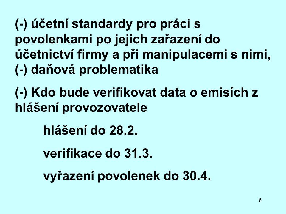 8 (-) účetní standardy pro práci s povolenkami po jejich zařazení do účetnictví firmy a při manipulacemi s nimi, (-) daňová problematika (-) Kdo bude verifikovat data o emisích z hlášení provozovatele hlášení do 28.2.