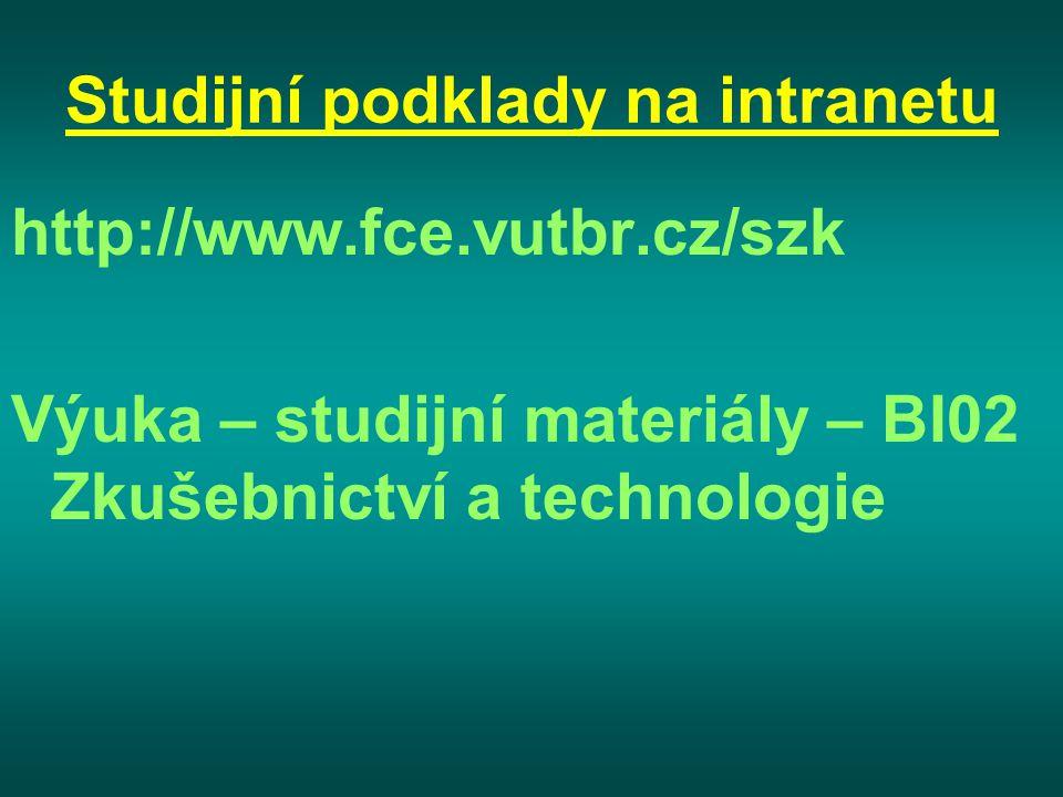 Studijní podklady na intranetu http://www.fce.vutbr.cz/szk Výuka – studijní materiály – BI02 Zkušebnictví a technologie