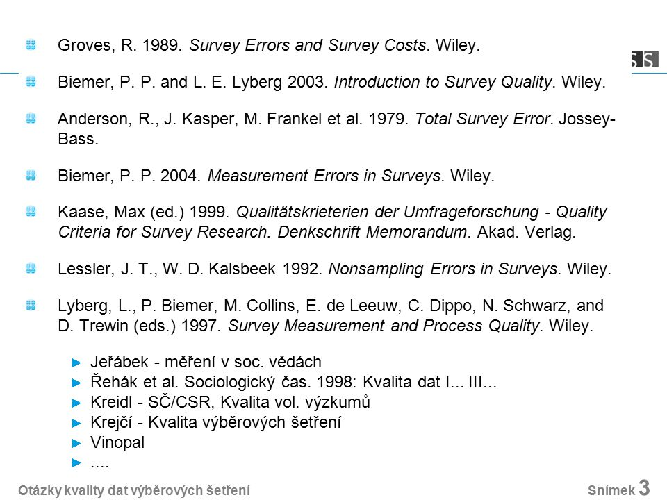 Groves, R. 1989. Survey Errors and Survey Costs. Wiley. Biemer, P. P. and L. E. Lyberg 2003. Introduction to Survey Quality. Wiley. Anderson, R., J. K
