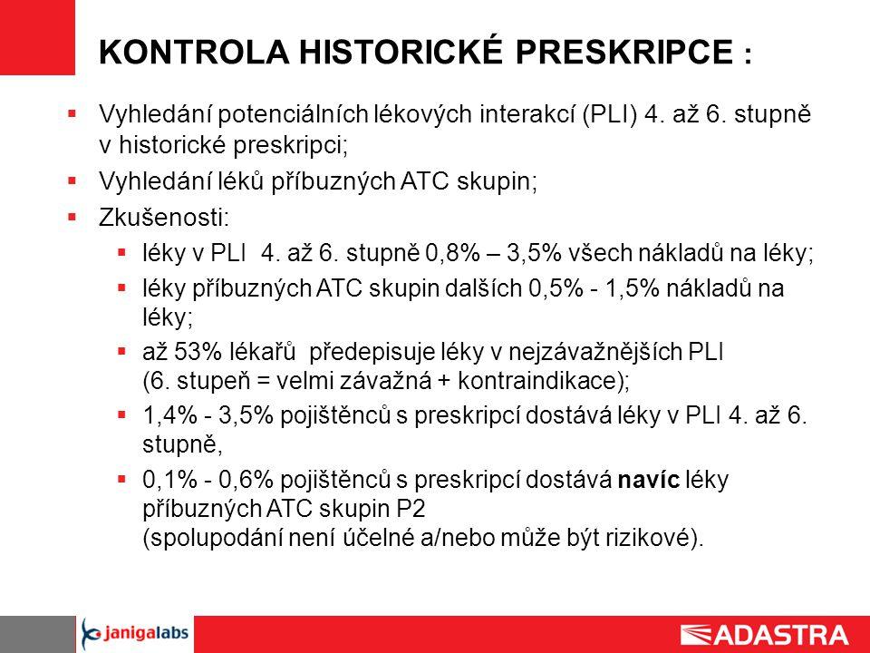 KONTROLA HISTORICKÉ PRESKRIPCE :  Vyhledání potenciálních lékových interakcí (PLI) 4. až 6. stupně v historické preskripci;  Vyhledání léků příbuzný