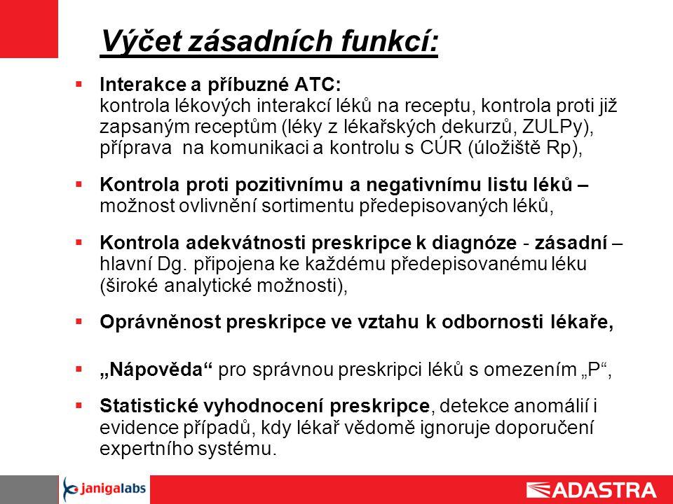 Výčet zásadních funkcí:  Interakce a příbuzné ATC: kontrola lékových interakcí léků na receptu, kontrola proti již zapsaným receptům (léky z lékařský