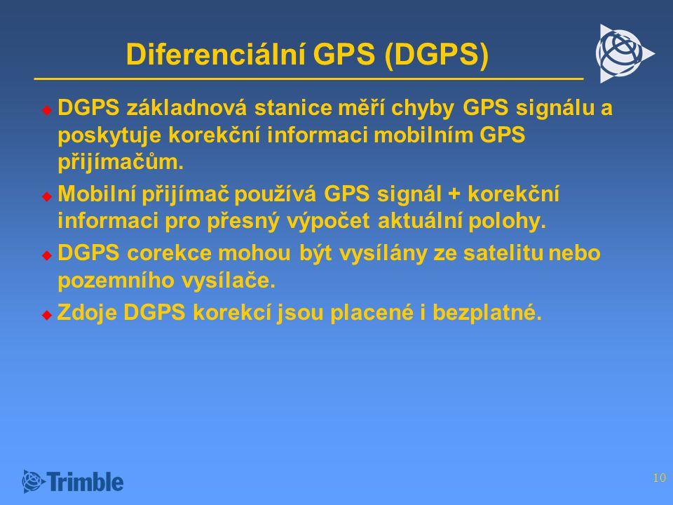 10 Diferenciální GPS (DGPS)  DGPS základnová stanice měří chyby GPS signálu a poskytuje korekční informaci mobilním GPS přijímačům.
