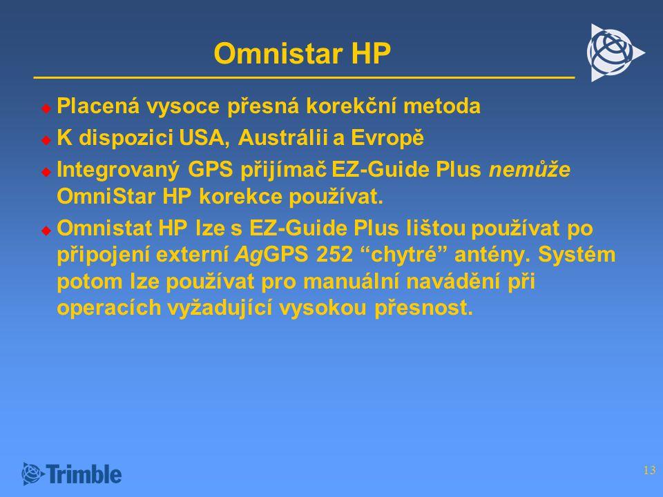 13 Omnistar HP  Placená vysoce přesná korekční metoda  K dispozici USA, Austrálii a Evropě  Integrovaný GPS přijímač EZ-Guide Plus nemůže OmniStar HP korekce používat.