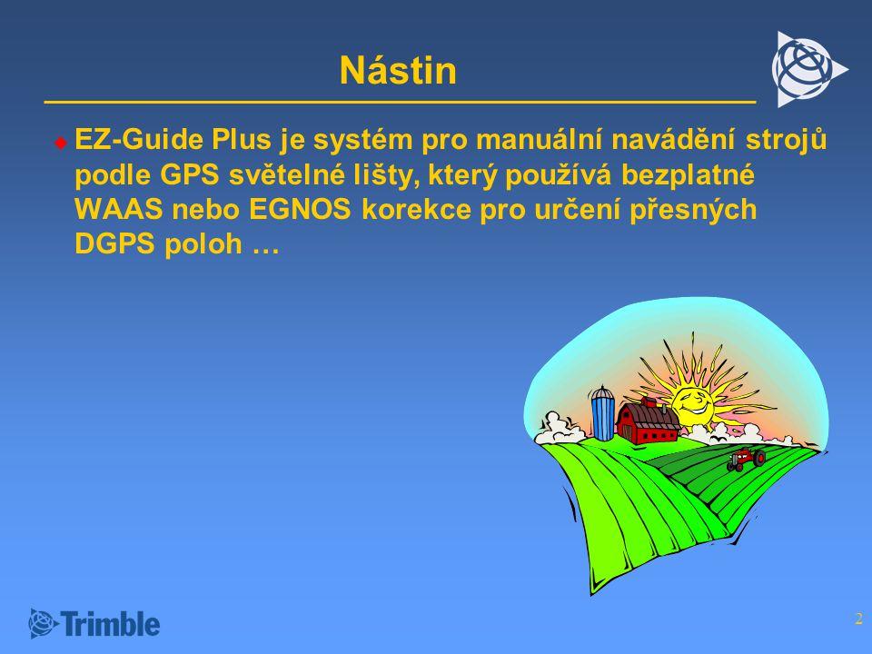 2 Nástin  EZ-Guide Plus je systém pro manuální navádění strojů podle GPS světelné lišty, který používá bezplatné WAAS nebo EGNOS korekce pro určení přesných DGPS poloh …