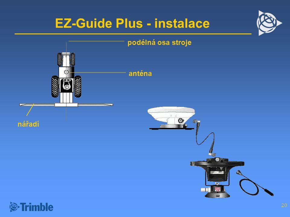 20 EZ-Guide Plus - instalace podélná osa stroje anténa nářadí
