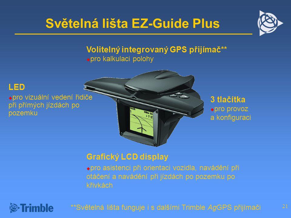 21 Světelná lišta EZ-Guide Plus Volitelný integrovaný GPS přijímač**  pro kalkulaci polohy LED  pro vizuální vedení řidiče při přímých jízdách po pozemku Grafický LCD display  pro asistenci při orientaci vozidla, navádění při otáčení a navádění při jízdách po pozemku po křivkách 3 tlačítka  pro provoz a konfiguraci **Světelná lišta funguje i s dalšími Trimble AgGPS přijímači