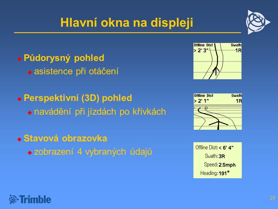 26 Hlavní okna na displeji  Půdorysný pohled  asistence při otáčení  Perspektivní (3D) pohled  navádění při jízdách po křivkách  Stavová obrazovka  zobrazení 4 vybraných údajů