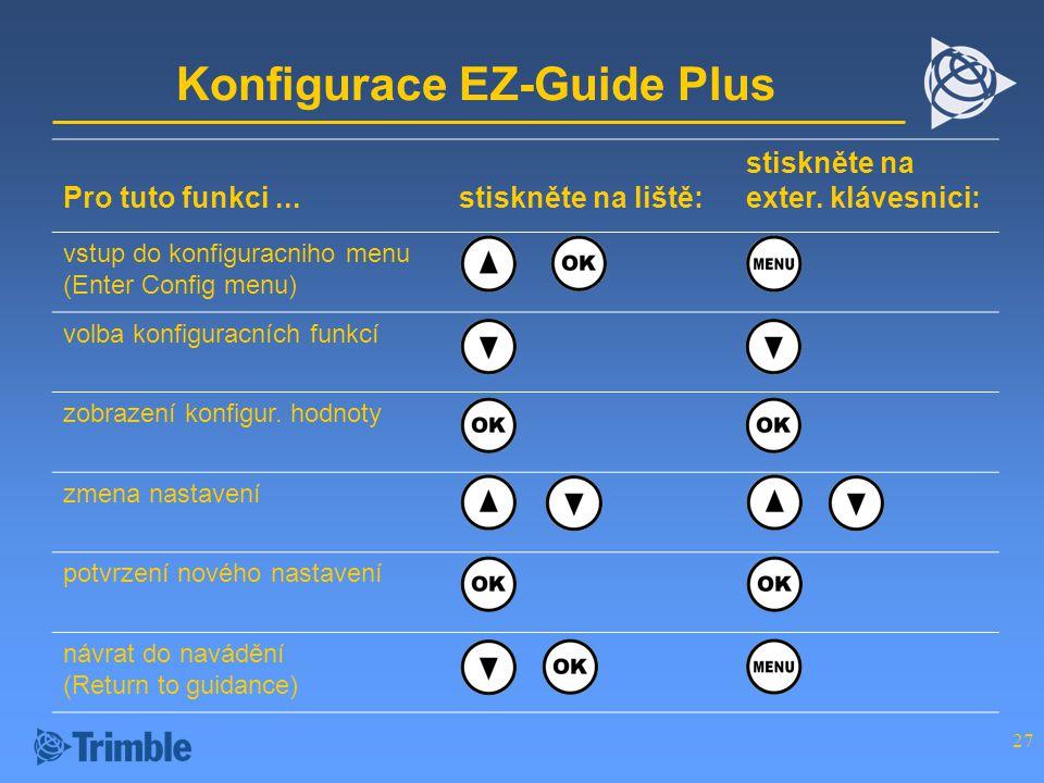 27 Konfigurace EZ-Guide Plus Pro tuto funkci...stiskněte na liště: stiskněte na exter.