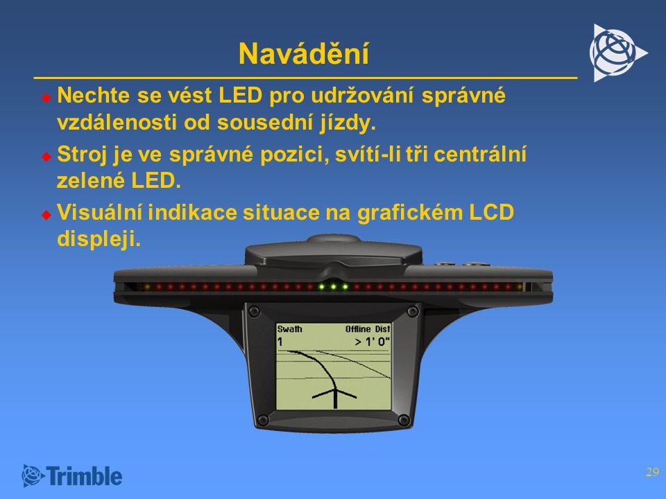 29 Navádění  Nechte se vést LED pro udržování správné vzdálenosti od sousední jízdy.