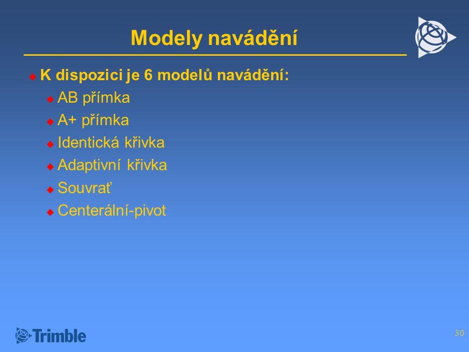 30 Modely navádění  K dispozici je 6 modelů navádění:  AB přímka  A+ přímka  Identická křivka  Adaptivní křivka  Souvrať  Centerální-pivot